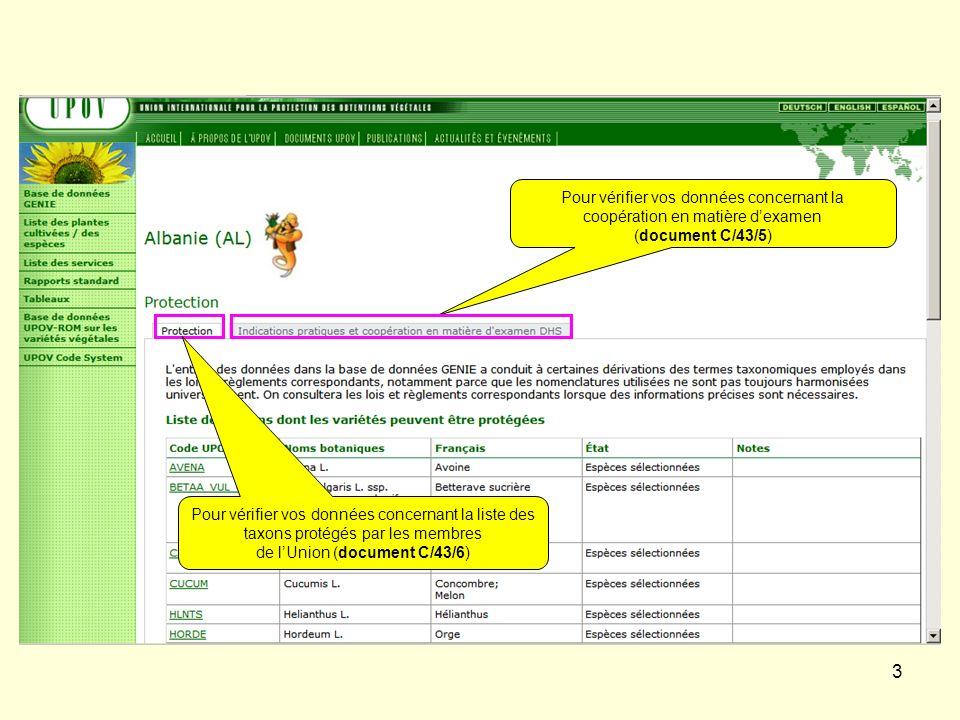 3 Pour vérifier vos données concernant la coopération en matière dexamen (document C/43/5) Pour vérifier vos données concernant la liste des taxons pr
