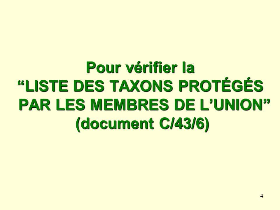 4 Pour vérifier la LISTE DES TAXONS PROTÉGÉS PAR LES MEMBRES DE LUNION (document C/43/6)