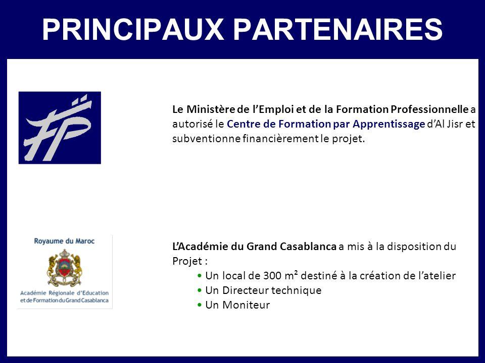 PRINCIPAUX PARTENAIRES Le Ministère de lEmploi et de la Formation Professionnelle a autorisé le Centre de Formation par Apprentissage dAl Jisr et subv