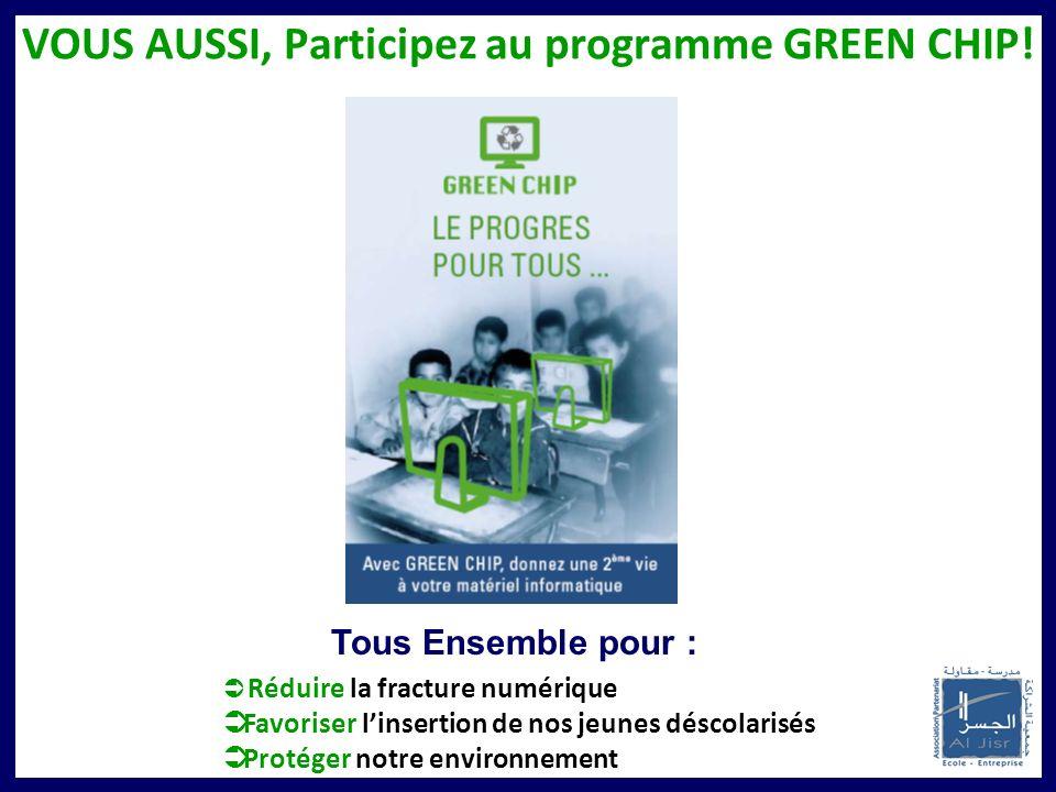 VOUS AUSSI, Participez au programme GREEN CHIP! Tous Ensemble pour : Réduire la fracture numérique Favoriser linsertion de nos jeunes déscolarisés Pro