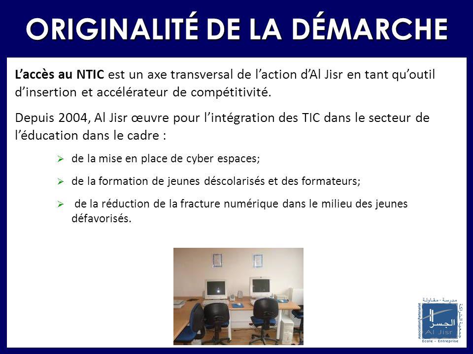 Laccès au NTIC est un axe transversal de laction dAl Jisr en tant quoutil dinsertion et accélérateur de compétitivité. Depuis 2004, Al Jisr œuvre pour