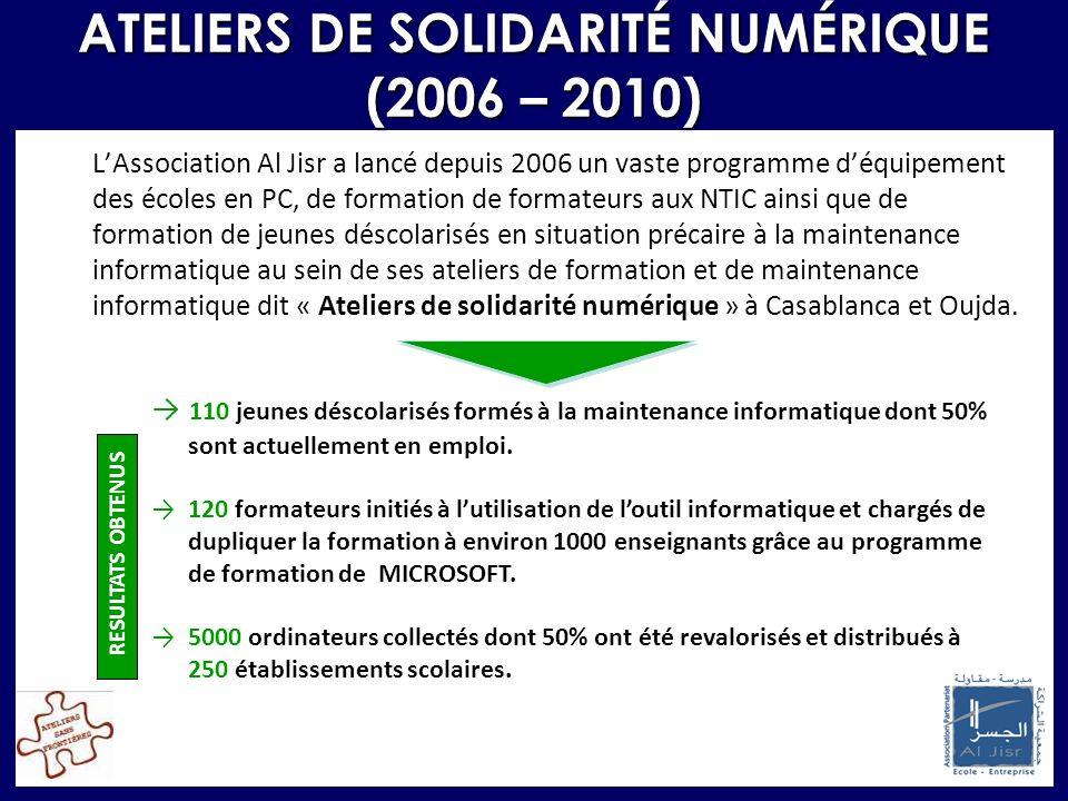 ATELIERS DE SOLIDARITÉ NUMÉRIQUE (2006 – 2010) LAssociation Al Jisr a lancé depuis 2006 un vaste programme déquipement des écoles en PC, de formation