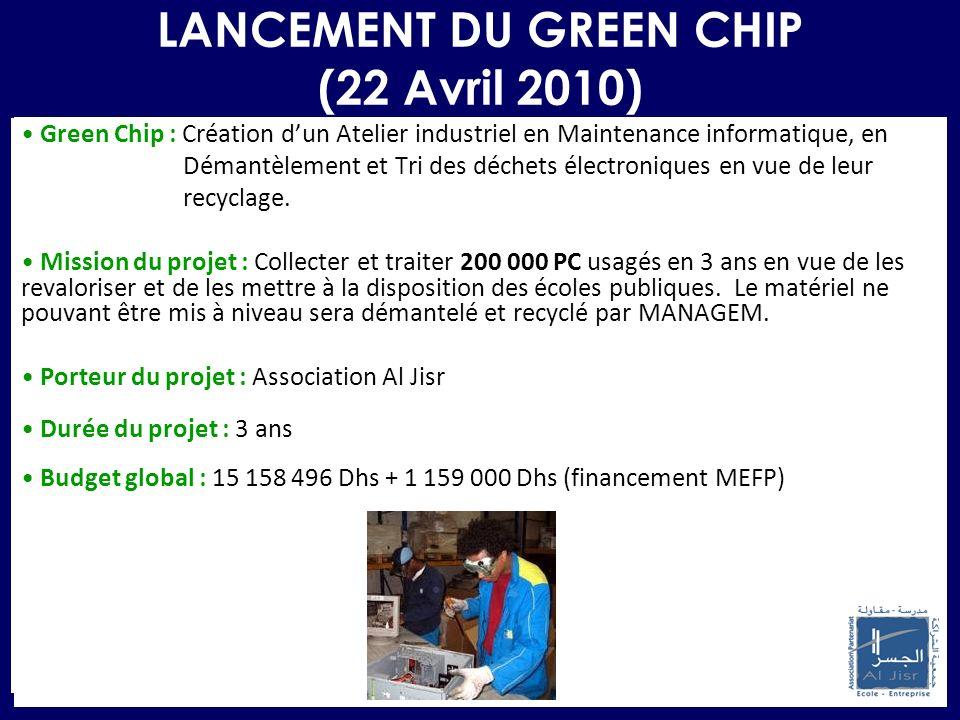 LANCEMENT DU GREEN CHIP (22 Avril 2010) Green Chip : Création dun Atelier industriel en Maintenance informatique, en Démantèlement et Tri des déchets