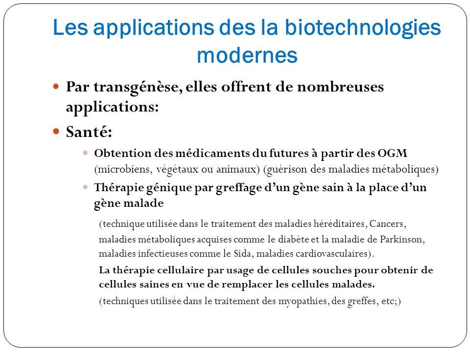 Les applications des la biotechnologies modernes Par transgénèse, elles offrent de nombreuses applications: Santé: Obtention des médicaments du future