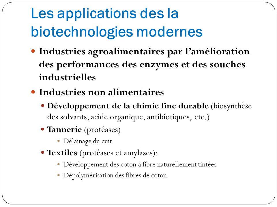 Les applications des la biotechnologies modernes Industries agroalimentaires par lamélioration des performances des enzymes et des souches industriell