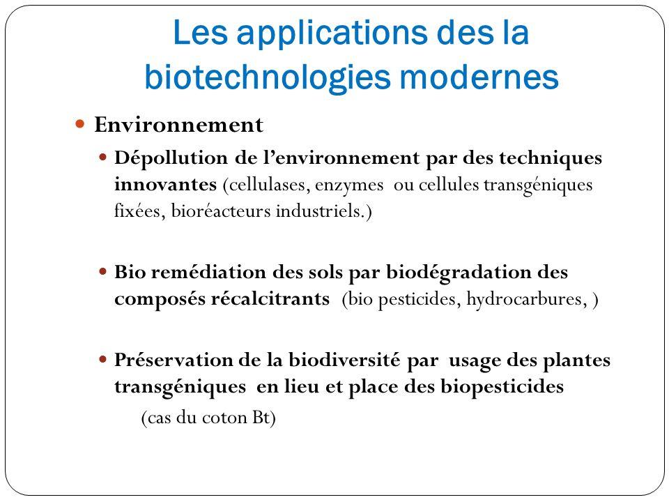 Les applications des la biotechnologies modernes Environnement Dépollution de lenvironnement par des techniques innovantes (cellulases, enzymes ou cel