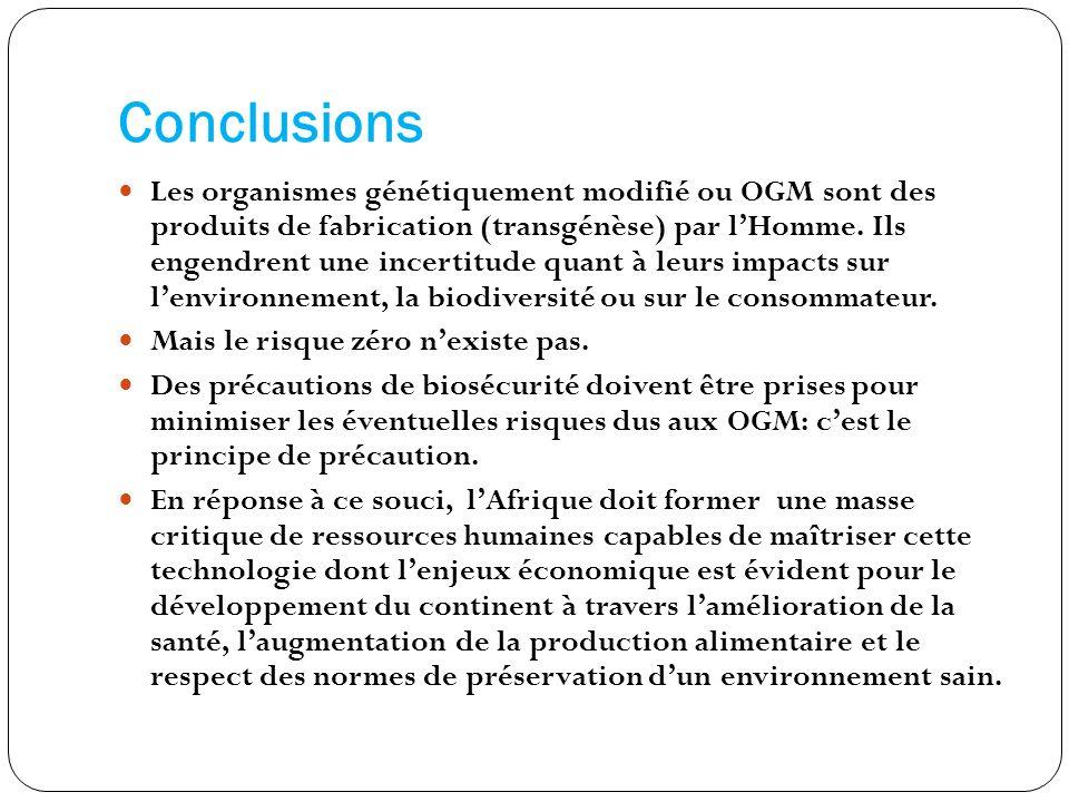 Conclusions Les organismes génétiquement modifié ou OGM sont des produits de fabrication (transgénèse) par lHomme. Ils engendrent une incertitude quan