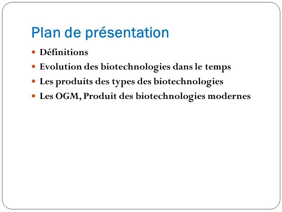 Plan de présentation Définitions Evolution des biotechnologies dans le temps Les produits des types des biotechnologies Les OGM, Produit des biotechno