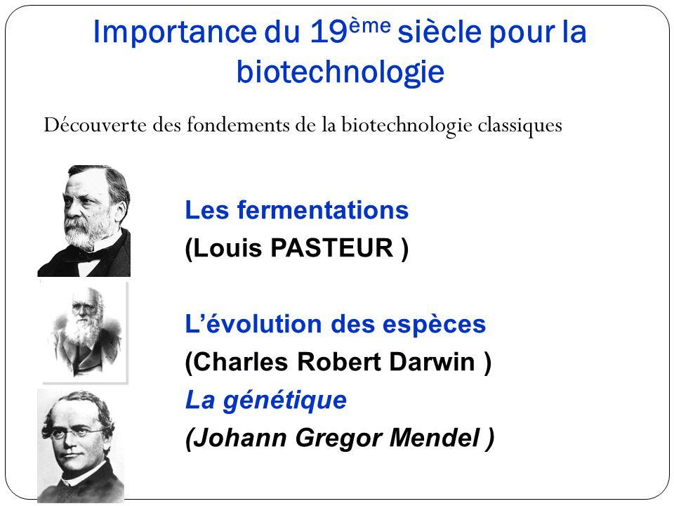 Importance du 19 ème siècle pour la biotechnologie Découverte des fondements de la biotechnologie classiques Les fermentations (Louis PASTEUR ) Lévolu