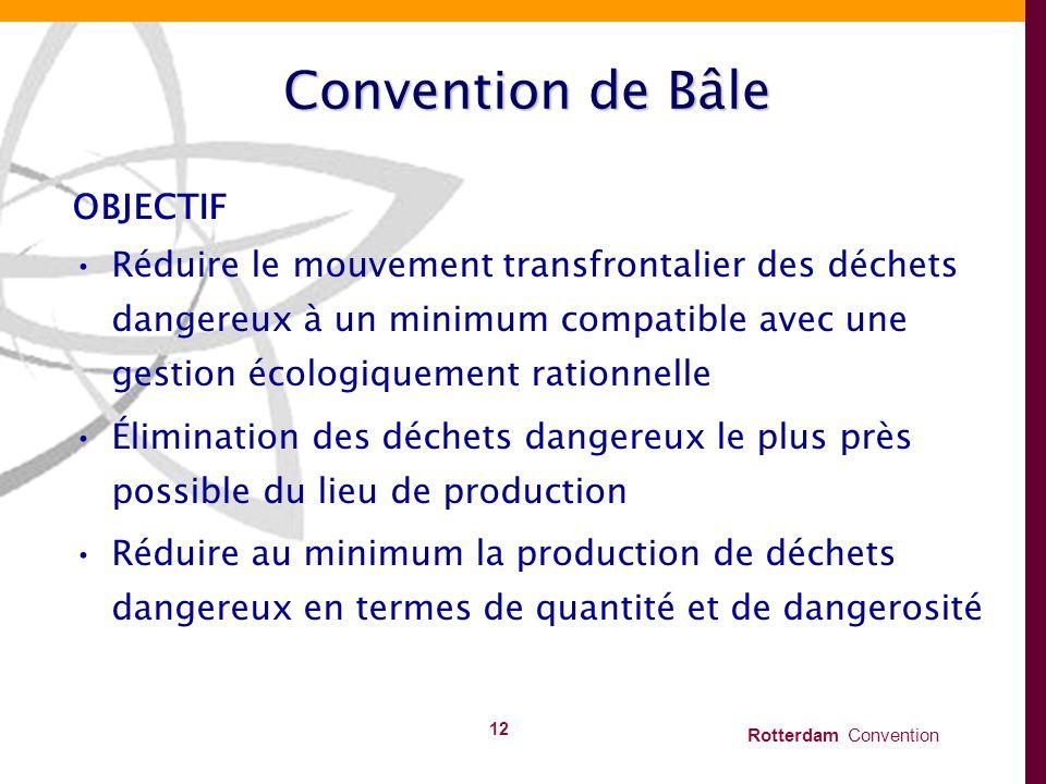 Rotterdam Convention 12 Convention de Bâle OBJECTIF Réduire le mouvement transfrontalier des déchets dangereux à un minimum compatible avec une gestio