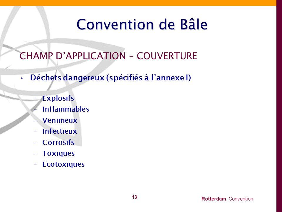Rotterdam Convention 13 Convention de Bâle CHAMP DAPPLICATION – COUVERTURE Déchets dangereux (spécifiés à lannexe I) –Explosifs –Inflammables –Venimeu