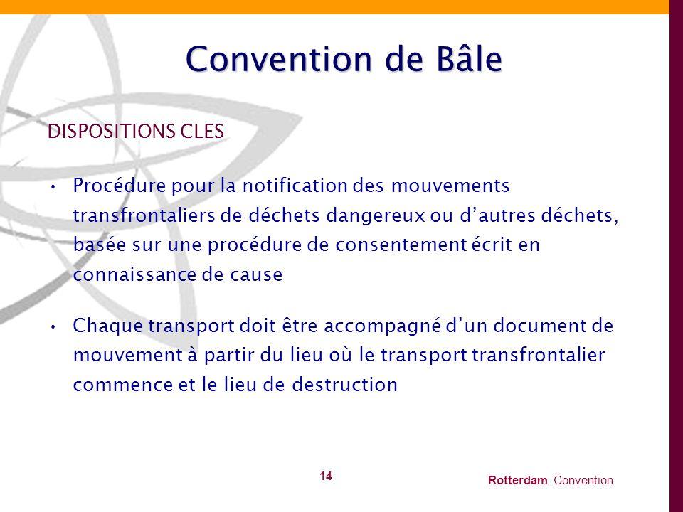 Rotterdam Convention 14 Convention de Bâle DISPOSITIONS CLES Procédure pour la notification des mouvements transfrontaliers de déchets dangereux ou da