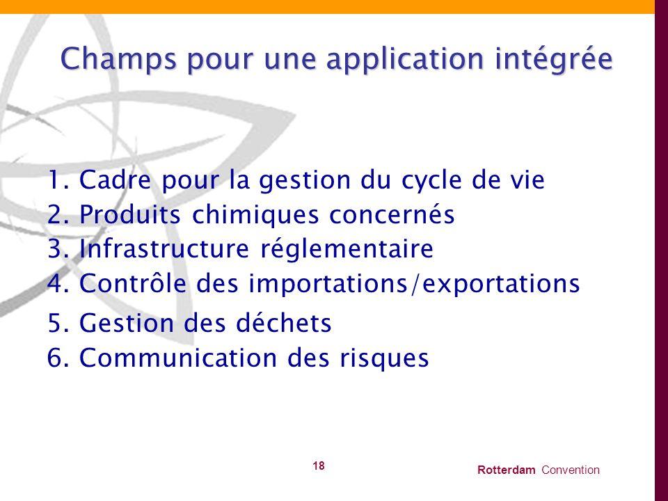 Rotterdam Convention 18 Champs pour une application intégrée 1. Cadre pour la gestion du cycle de vie 2. Produits chimiques concernés 3. Infrastructur