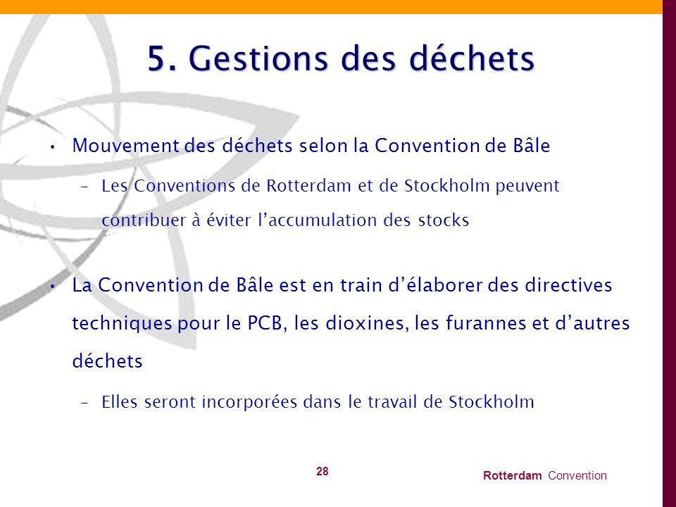Rotterdam Convention 28 5. Gestions des déchets Mouvement des déchets selon la Convention de Bâle –Les Conventions de Rotterdam et de Stockholm peuven
