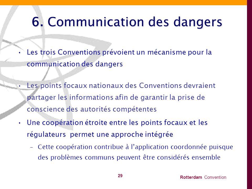 Rotterdam Convention 29 6. Communication des dangers Les trois Conventions prévoient un mécanisme pour la communication des dangers Les points focaux