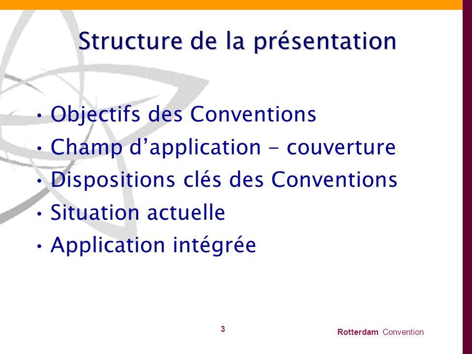 Rotterdam Convention 3 Structure de la présentation Objectifs des Conventions Champ dapplication - couverture Dispositions clés des Conventions Situat