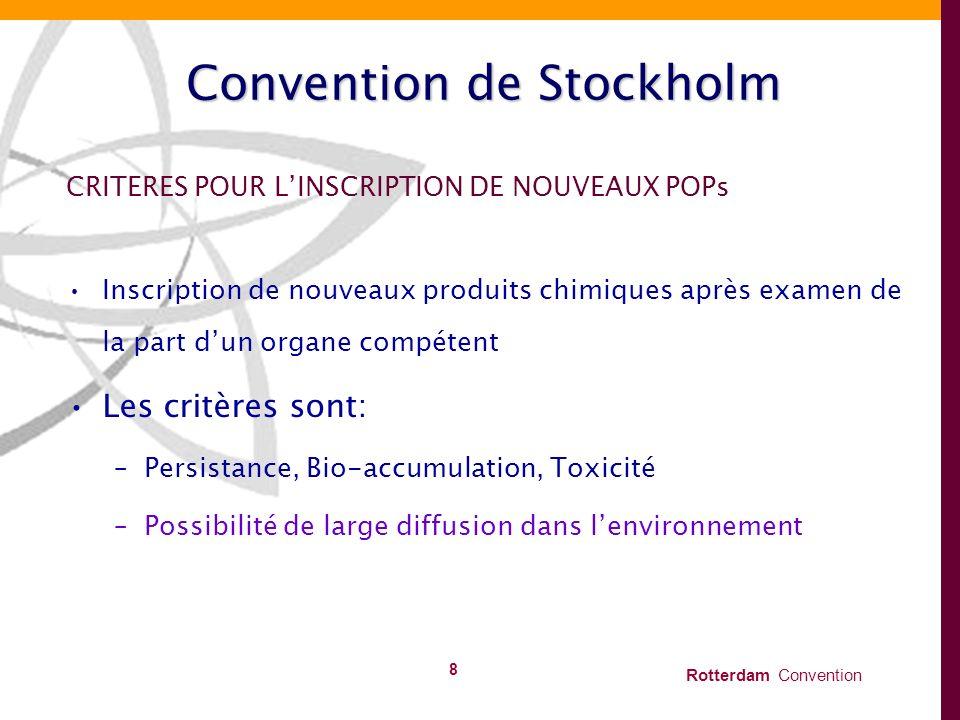 Rotterdam Convention 8 Convention de Stockholm CRITERES POUR LINSCRIPTION DE NOUVEAUX POPs Inscription de nouveaux produits chimiques après examen de