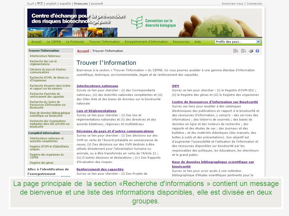 La page principale de la section «Recherche d'informations » contient un message de bienvenue et une liste des informations disponibles, elle est divi