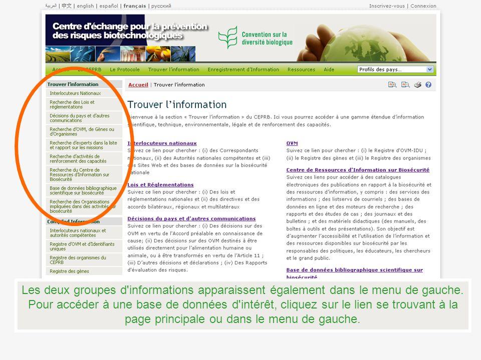 Les deux groupes d'informations apparaissent également dans le menu de gauche. Pour accéder à une base de données d'intérêt, cliquez sur le lien se tr