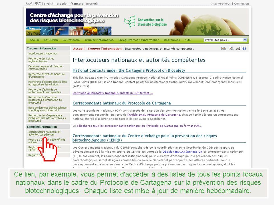 Ce lien, par exemple, vous permet d'accéder à des listes de tous les points focaux nationaux dans le cadre du Protocole de Cartagena sur la prévention