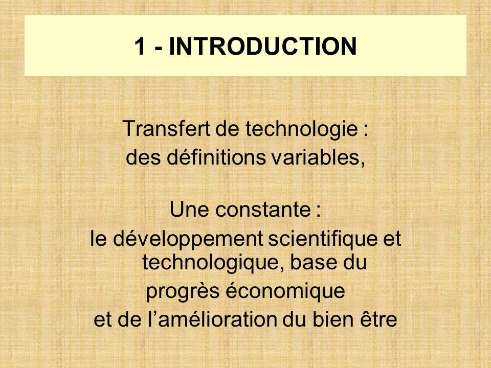 1 - INTRODUCTION Transfert de technologie : des définitions variables, Une constante : le développement scientifique et technologique, base du progrès