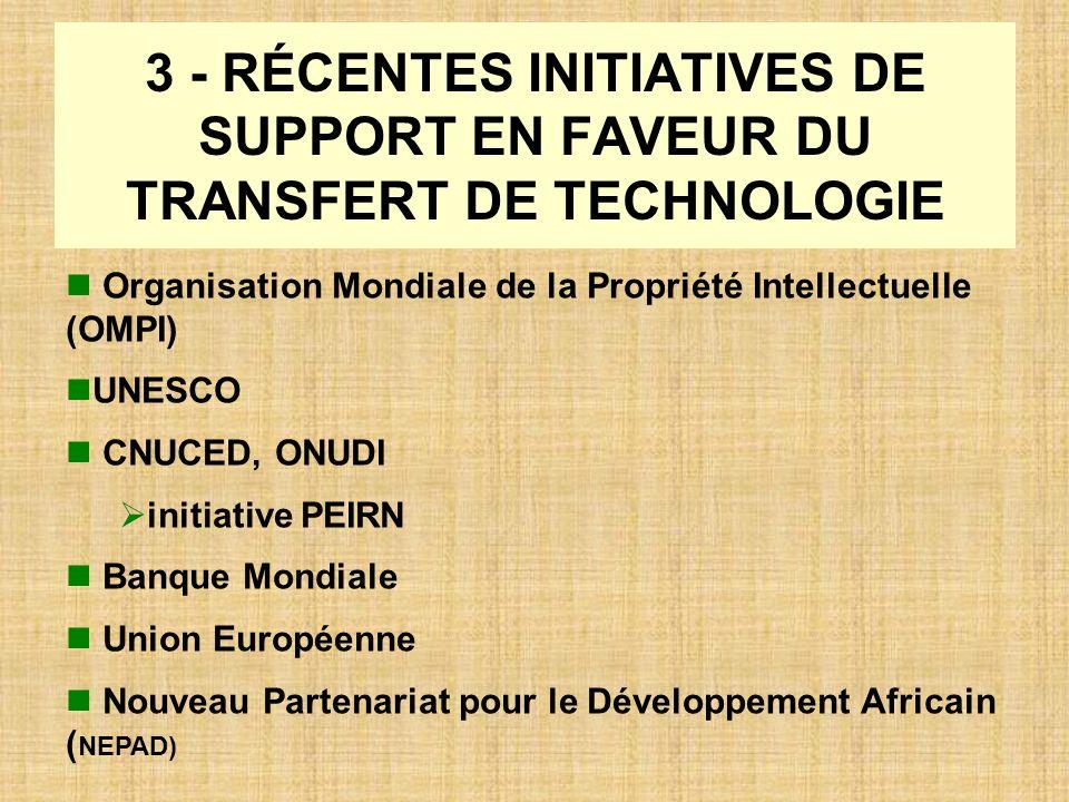 3 - RÉCENTES INITIATIVES DE SUPPORT EN FAVEUR DU TRANSFERT DE TECHNOLOGIE Organisation Mondiale de la Propriété Intellectuelle (OMPI) UNESCO CNUCED, O