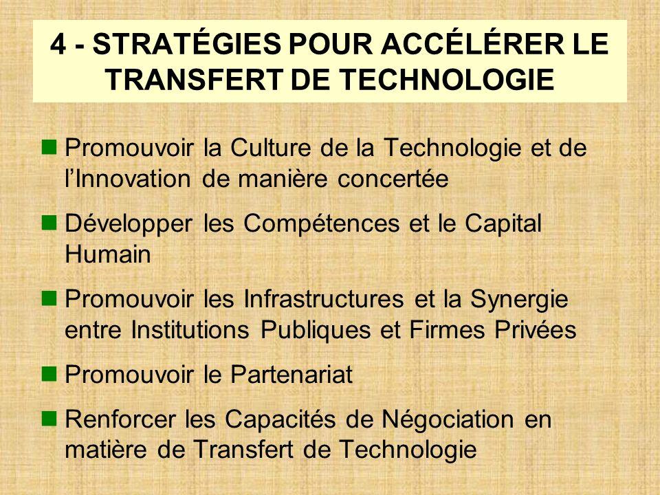 4 - STRATÉGIES POUR ACCÉLÉRER LE TRANSFERT DE TECHNOLOGIE Promouvoir la Culture de la Technologie et de lInnovation de manière concertée Développer le