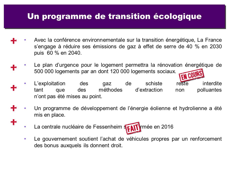 Un programme de transition écologique Avec la conférence environnementale sur la transition énergétique, La France sengage à réduire ses émissions de