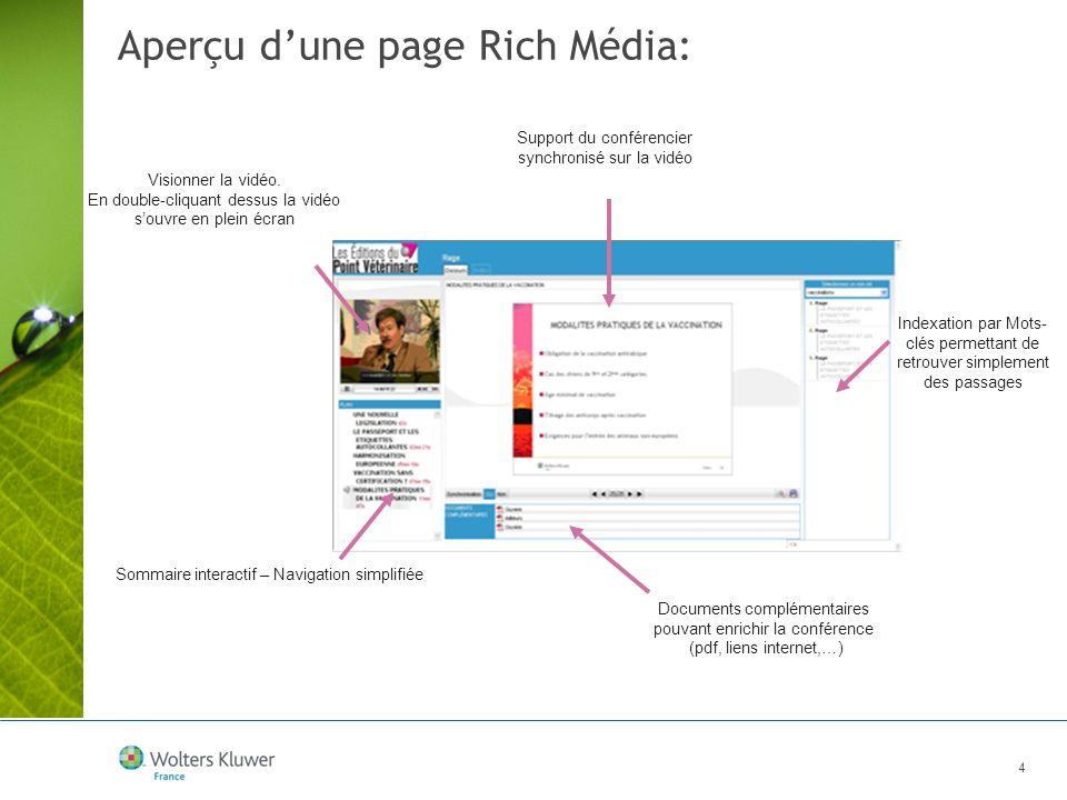 4 Aperçu dune page Rich Média: Visionner la vidéo. En double-cliquant dessus la vidéo souvre en plein écran Support du conférencier synchronisé sur la