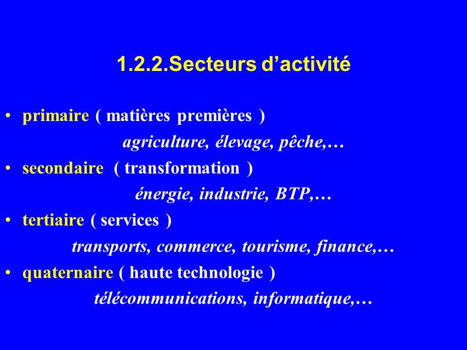 1.2.2.Secteurs dactivité primaire ( matières premières ) agriculture, élevage, pêche,… secondaire ( transformation ) énergie, industrie, BTP,… tertiai