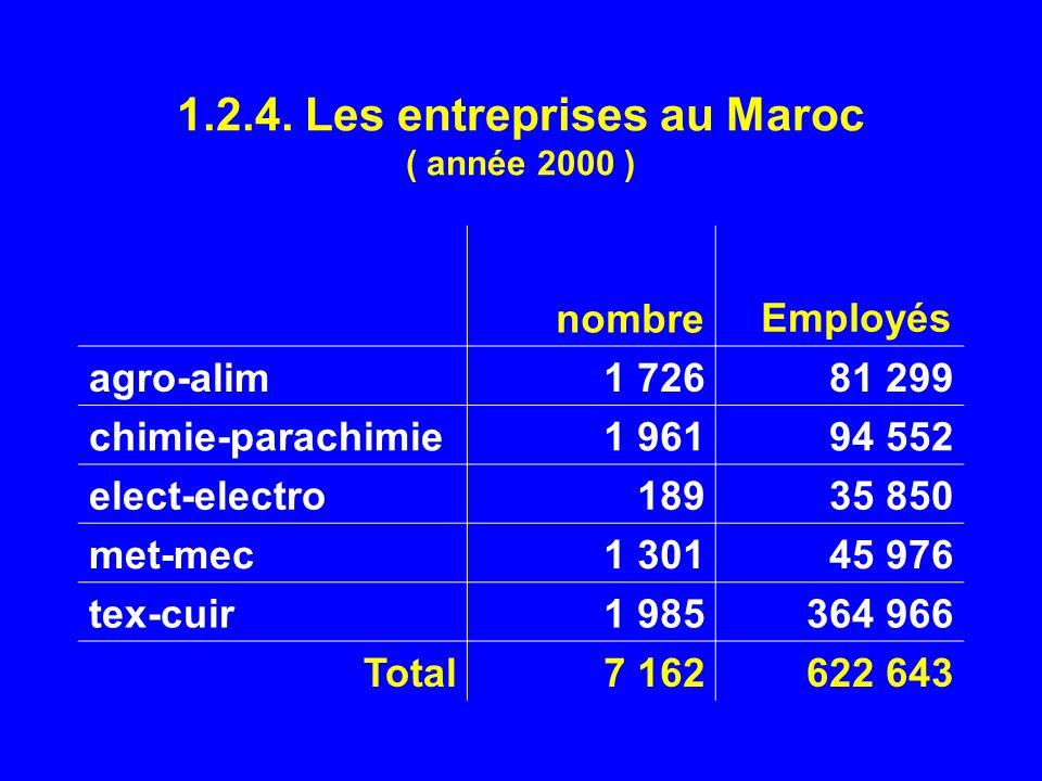 1.2.4. Les entreprises au Maroc ( année 2000 ) nombre Employés agro-alim1 72681 299 chimie-parachimie1 96194 552 elect-electro18935 850 met-mec1 30145