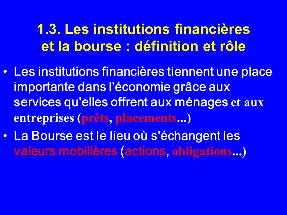 1.3. Les institutions financières et la bourse : définition et rôle Les institutions financières tiennent une place importante dans l'économie grâce a