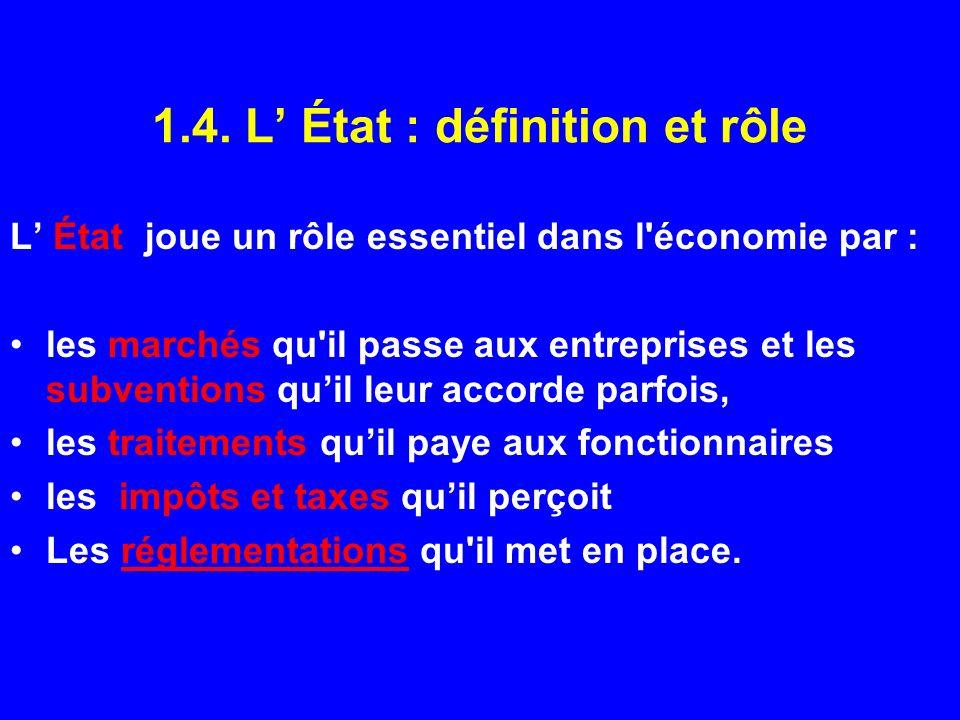 1.4. L État : définition et rôle L État joue un rôle essentiel dans l'économie par : les marchés qu'il passe aux entreprises et les subventions quil l