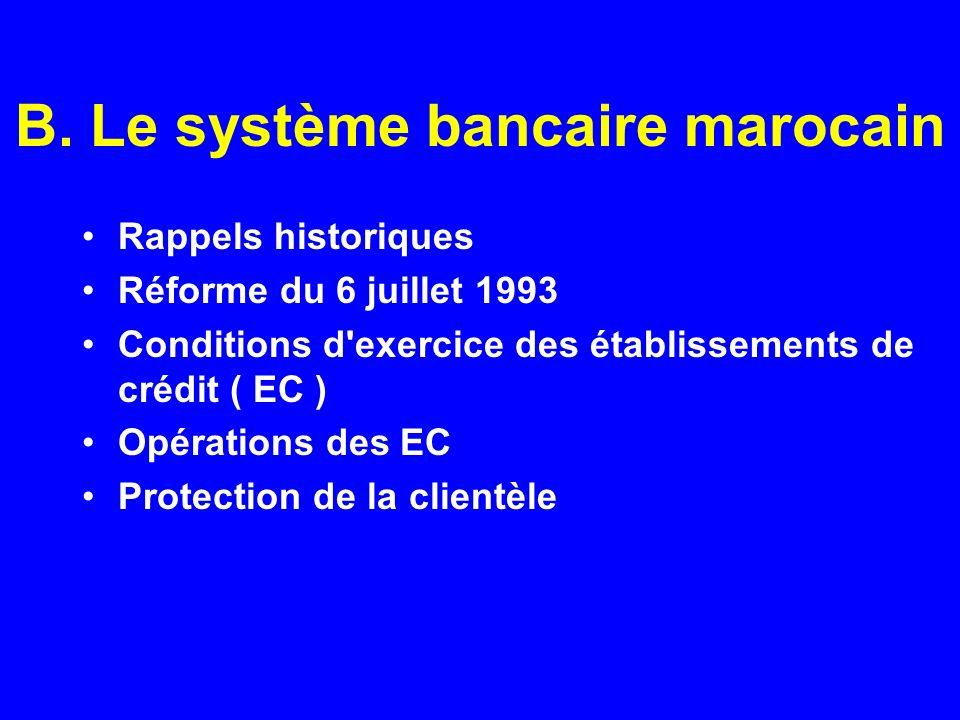 B. Le système bancaire marocain Rappels historiques Réforme du 6 juillet 1993 Conditions d'exercice des établissements de crédit ( EC ) Opérations des