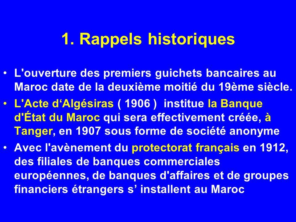 1. Rappels historiques L'ouverture des premiers guichets bancaires au Maroc date de la deuxième moitié du 19ème siècle. L'Acte dAlgésiras ( 1906 ) ins