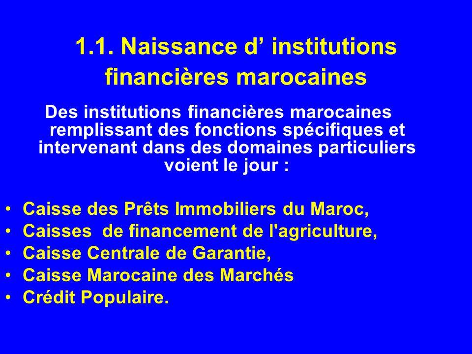 1.1. Naissance d institutions financières marocaines Des institutions financières marocaines remplissant des fonctions spécifiques et intervenant dans
