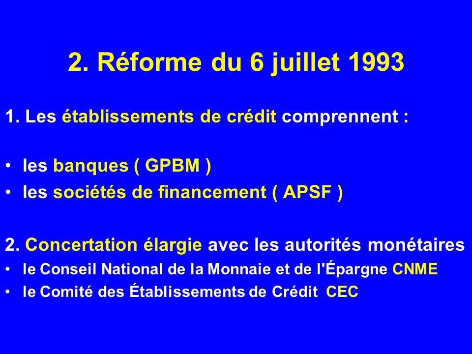 2. Réforme du 6 juillet 1993 1. Les établissements de crédit comprennent : les banques ( GPBM ) les sociétés de financement ( APSF ) 2. Concertation é