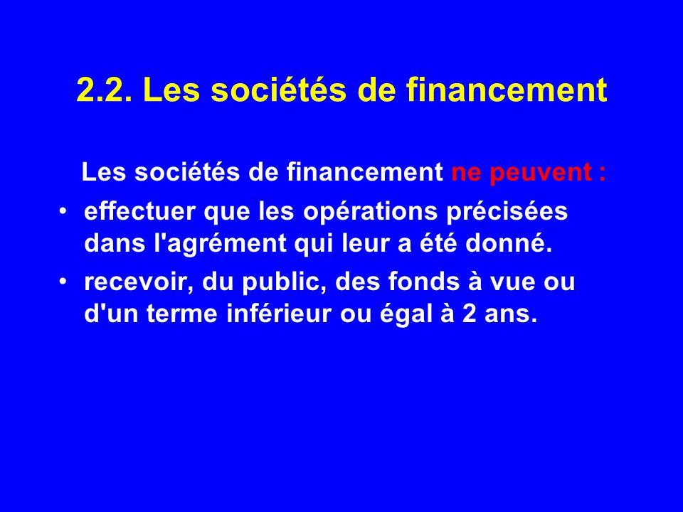2.2. Les sociétés de financement Les sociétés de financement ne peuvent : effectuer que les opérations précisées dans l'agrément qui leur a été donné.