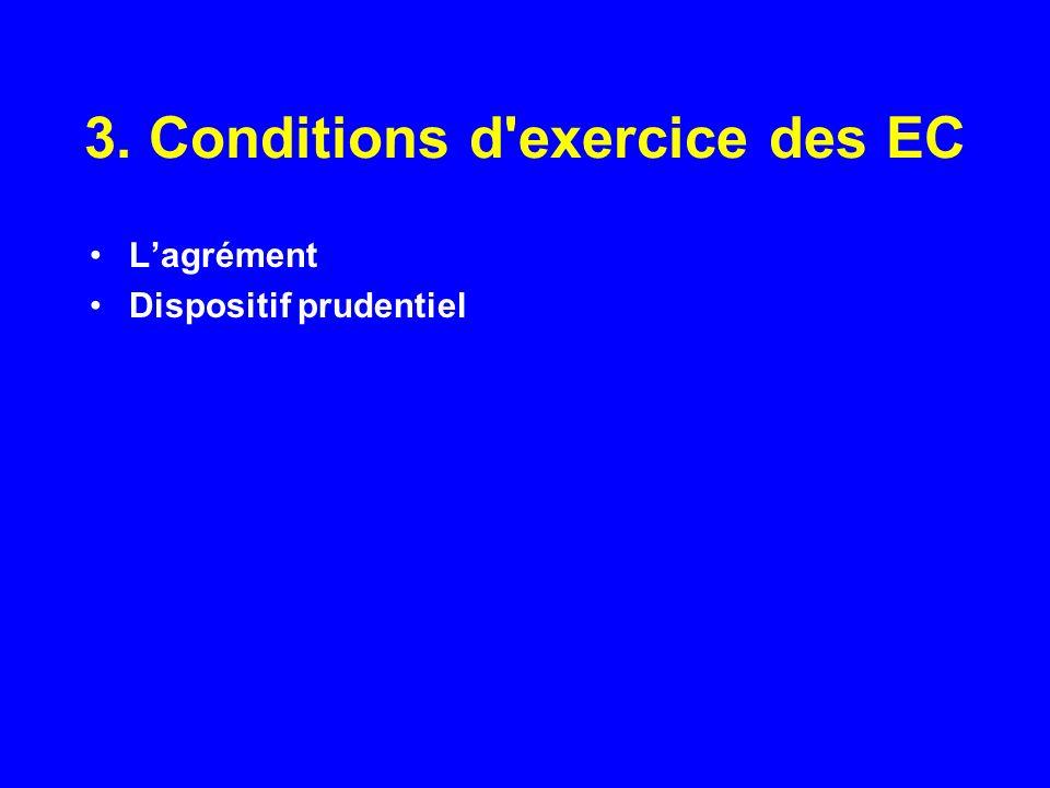 3. Conditions d'exercice des EC Lagrément Dispositif prudentiel