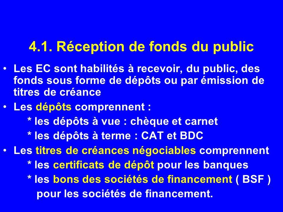 4.1. Réception de fonds du public Les EC sont habilités à recevoir, du public, des fonds sous forme de dépôts ou par émission de titres de créance Les