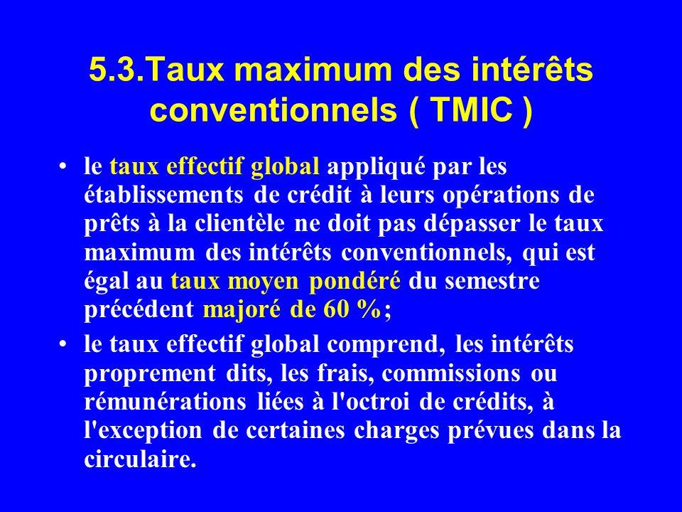 5.3.Taux maximum des intérêts conventionnels ( TMIC ) le taux effectif global appliqué par les établissements de crédit à leurs opérations de prêts à