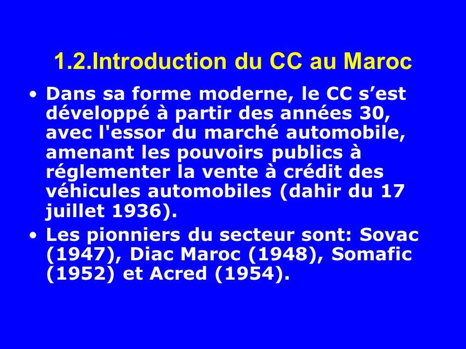 1.2.Introduction du CC au Maroc Dans sa forme moderne, le CC sest développé à partir des années 30, avec l'essor du marché automobile, amenant les pou