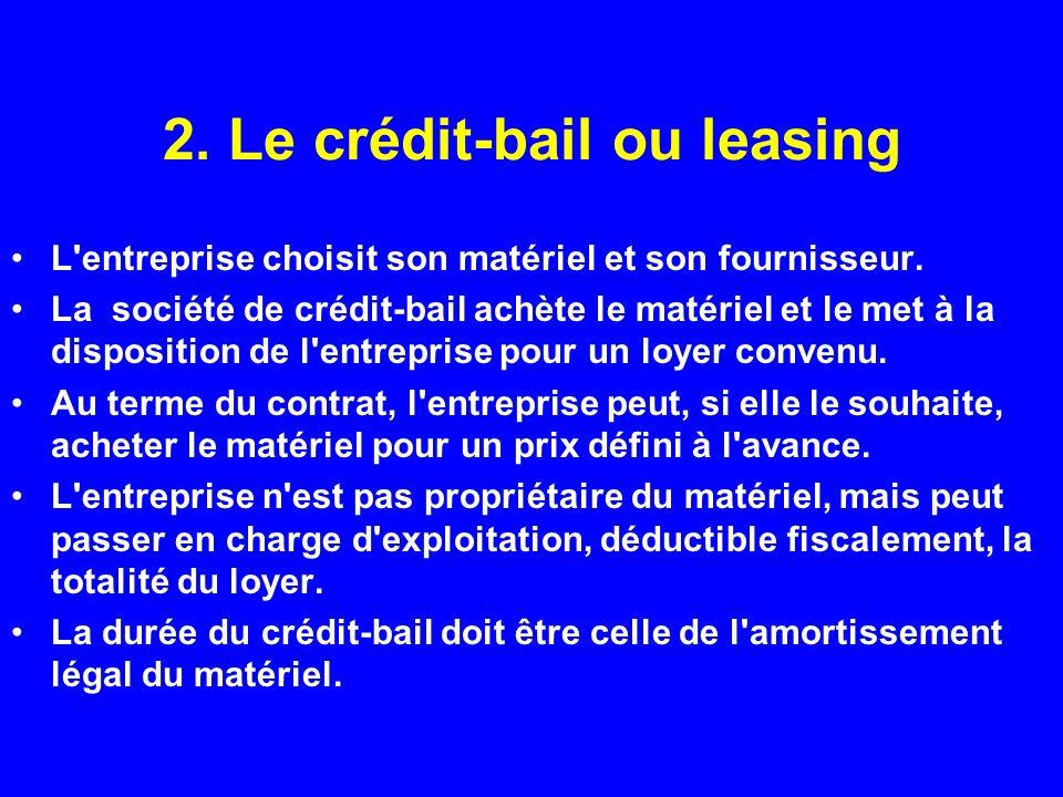 2. Le crédit-bail ou leasing L'entreprise choisit son matériel et son fournisseur. La société de crédit-bail achète le matériel et le met à la disposi
