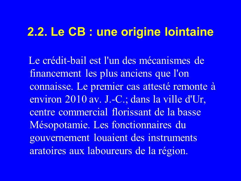 2.2. Le CB : une origine lointaine Le crédit-bail est l'un des mécanismes de financement les plus anciens que l'on connaisse. Le premier cas attesté r