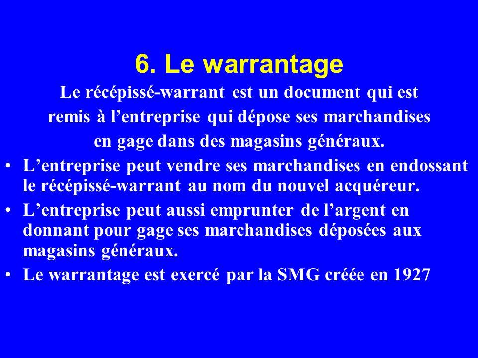 6. Le warrantage Le récépissé-warrant est un document qui est remis à lentreprise qui dépose ses marchandises en gage dans des magasins généraux. Lent