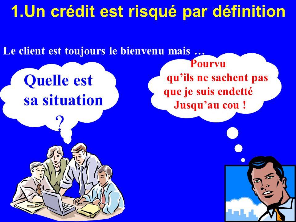 1.Un crédit est risqué par définition Pourvu quils ne sachent pas que je suis endetté Jusquau cou ! Quelle est sa situation ? Le client est toujours l