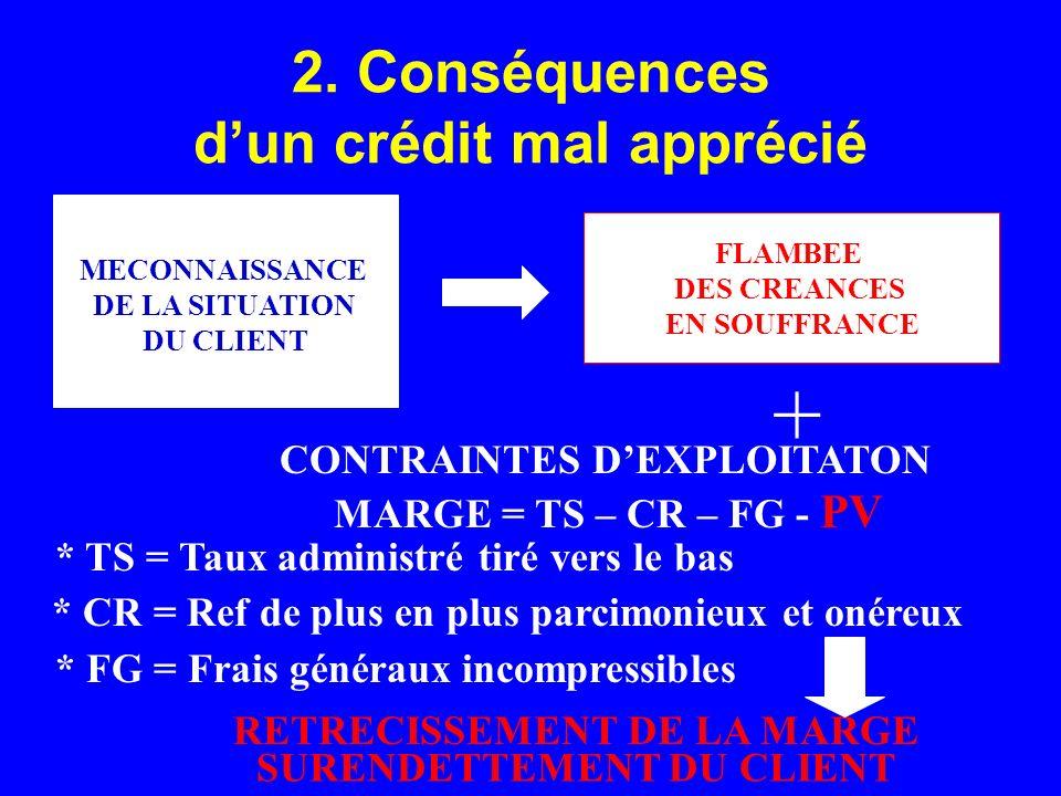 2. Conséquences dun crédit mal apprécié MECONNAISSANCE DE LA SITUATION DU CLIENT FLAMBEE DES CREANCES EN SOUFFRANCE CONTRAINTES DEXPLOITATON MARGE = T