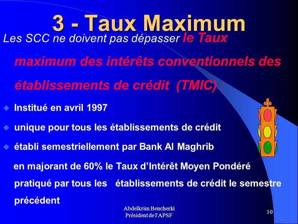 Abdelkrim Bencherki Président de l'APSF 10 3 - Taux Maximum Les SCC ne doivent pas dépasser le Taux maximum des intérêts conventionnels des établissem