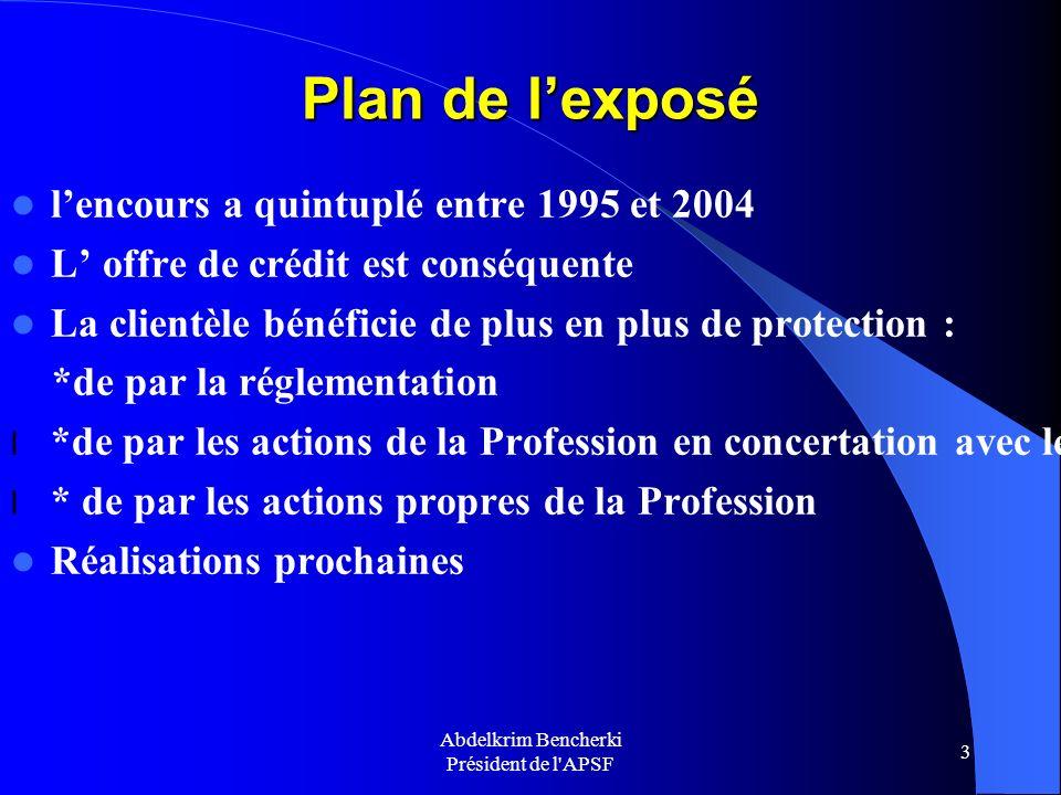 Abdelkrim Bencherki Président de l'APSF 3 Plan de lexposé lencours a quintuplé entre 1995 et 2004 L offre de crédit est conséquente La clientèle bénéf