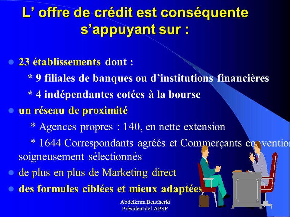 Abdelkrim Bencherki Président de l'APSF 5 L offre de crédit est conséquente sappuyant sur : 23 établissements dont : * 9 filiales de banques ou dinsti